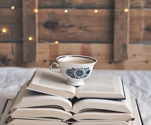 books, coffee, and lights image