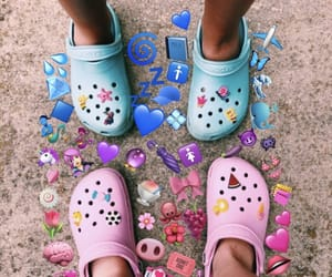 beach, crocs, and pink image