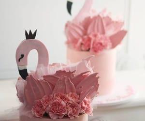 cake, flamingo, and pink image