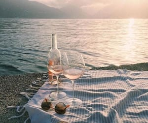wine, beach, and summer image