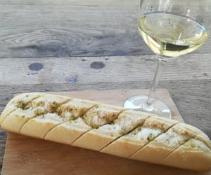 bread, food, and white wine image