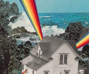 art, blue, and rainbow image