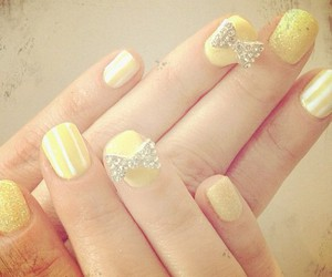 nails, bow, and yellow image