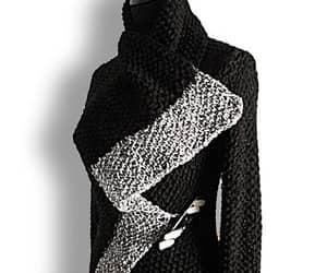 black sweater, etsy, and knitting image