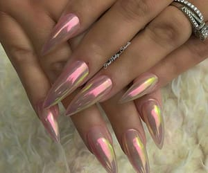 acrylics, iridescent, and chrome nails image
