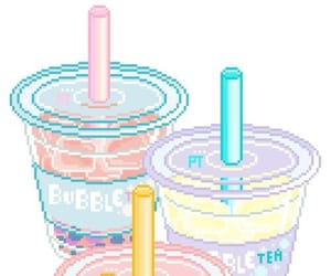kawaii, pixel, and bubble tea image