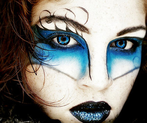black lips, blu, and freckles image