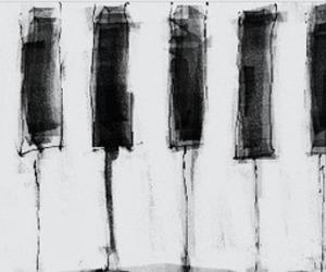 piano, art, and black image