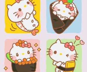 hello kitty, sanrio, and sushi image