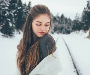 forest, snow, and girl image