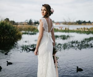 dress, outdoor wedding, and lace wedding dress image