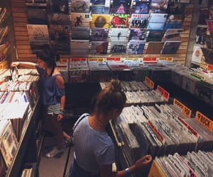 record shop, vintage, and records image