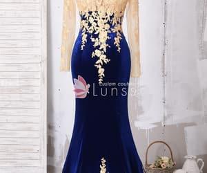 royal blue, velvet prom dress, and promdress image