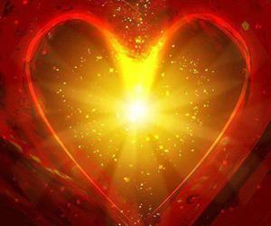 glowing, gold, and heart image