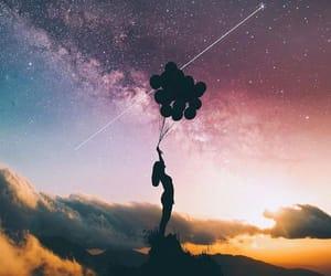 balloon, sky, and star image