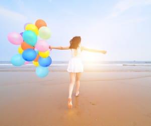 balloons, beach, and mood image