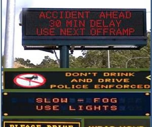 drive carefully, traffic management, and variable message sign image