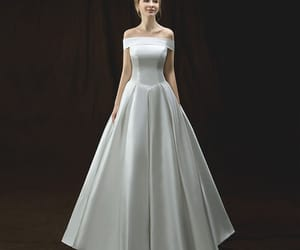 bridal, simple wedding dress, and bridal gown image