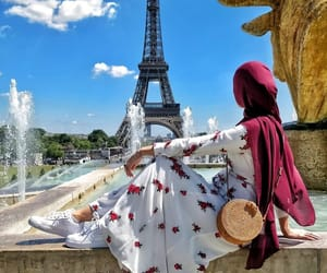 eiffel tower, fashion, and hijab image