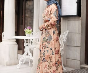 fashion, floral dress, and hijab image
