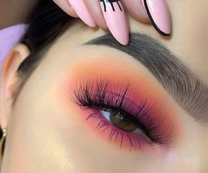 makeup, pink, and sunset image