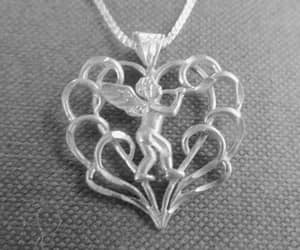 etsy, heart necklace, and vintage angel image