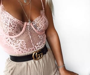 gucci belt, lace top, and pink image