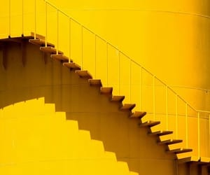 yellow, aesthetic, and stairs image