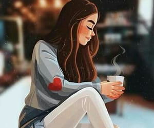 girl and coffe image