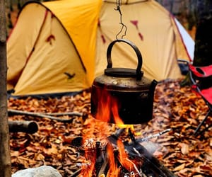 camping, autumn, and fire image