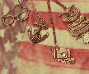 necklace, owl, and camera image