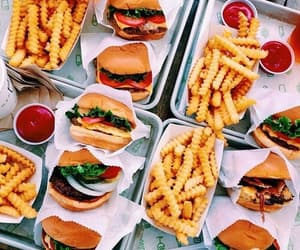 food, fries, and hamburger image