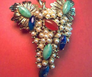 etsy, vintage brooch, and peking glass image