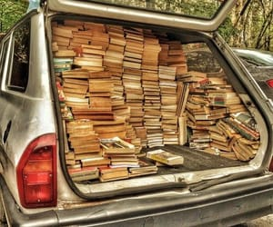 book, car, and bookworm image