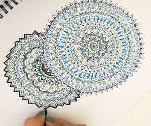 art zentangle and blue green mandala image