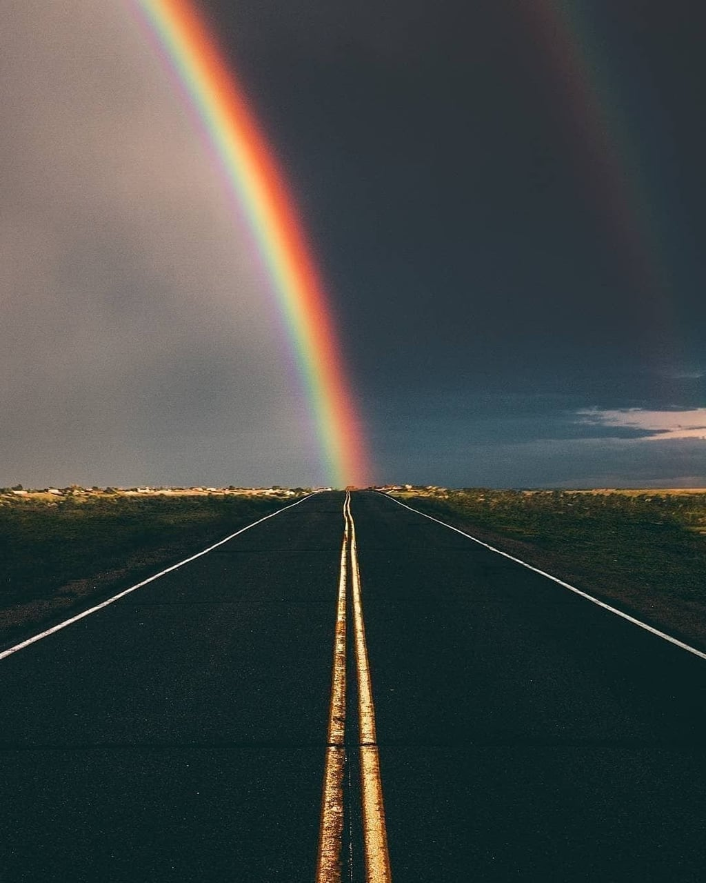 rainbow, road, and sky image