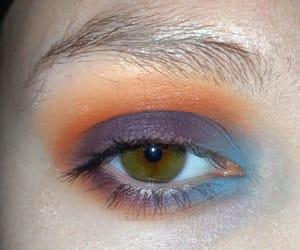 blue, green eyes, and purple eyeshadow image