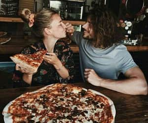 pizza, couple, and love image