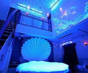 blue, purple, and mermaid image