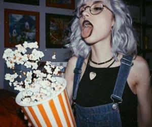 girl, popcorn, and aesthetic image