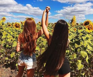 girl, friendship, and redhead image