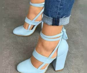 blue, shoes, and high heel shoes image
