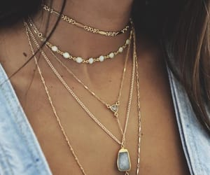 girl, gold, and necklace image