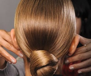bun, knot, and auburn image