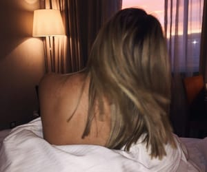 back, bed, and blonde image