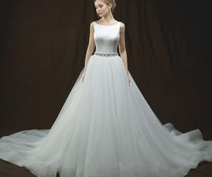 bridal, ivory wedding dress, and tulle wedding gown image