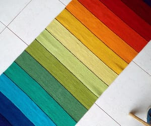 striped rug, colorful rug, and wool rug image