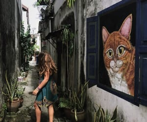 cat, dress, and girl image