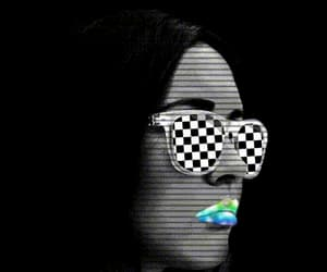 black and white, glasses, and neon image