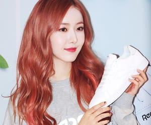 red hair, hwang eun bi, and reebok image